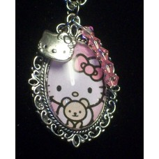Pink Hello Kitty Glass Cabochon Charm Necklace