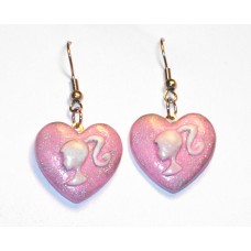 Pink Glitter Heart Barbie Earrings Cameo Silhouette