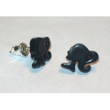 Barbie Stud Earrings Silhouette Cameos - Black