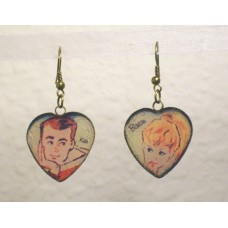 Vintage Style Barbie And Ken Earrings Bronze Heart