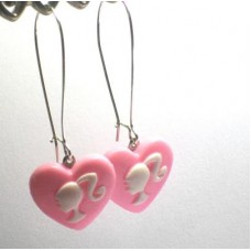 Barbie Silhouette Dangle Earrings Pink Kidney hoop  Heart Cameo