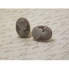 """Classic"" Coffee Cameo Post Earrings"