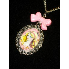 Pink Vintage Style Barbie Necklace Glass Cabochon Cameo Pendant