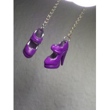 Purple Platform Chain Drop Barbie Shoe Earrings