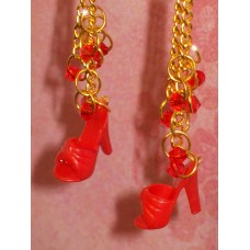 Red Chain Drop Vintage Barbie Shoe Earrings