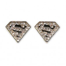 Superman Earrings Gold Plated Cubic Zirconia