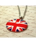 Glass Union Jack Necklace United Kingdom UK Flag Queen Jubilee