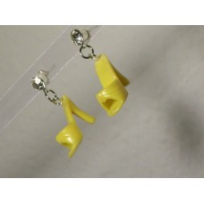 Yellow Vintage Barbie Shoe Earrings With Swarovski Crystal Posts