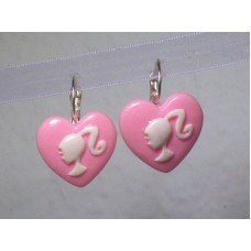 Pink Leverback Barbie Earrings Heart Cameos