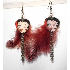 Antique Bronze Betty Boop Feather Earrings Red Polka Dots