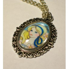 Vintage Style Barbie Necklace Glass Cabochon Cameo Pendant