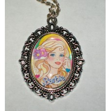 Vintage Style Barbie Necklace Glass Cabochon Cameo Pendant Flowers