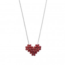 Cultured Freshwater Pearl Gamer Heart Necklace Pixel Art