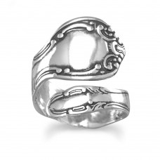 Sterling Silver Oxidized Spoon Ring Wrap Ring Spoon Ring