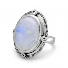 925 Sterling Silver  Oxidized Oval Rainbow Moonstone Ring