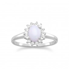 925 Sterling Silver White Topaz and Australian Opal Ring