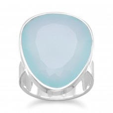 925 Sterling Silver Freeform Sea Green Chalcedony Ring