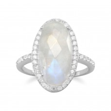 .925 Sterling Silver Gorgeous Rainbow Moonstone Ring