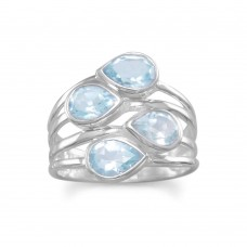 .925 Sterling Silver Pear Blue Topaz Ring
