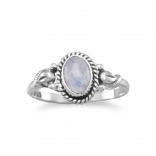 .925 Sterling Silver Oxidized Rainbow Moonstone Ring