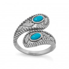 Sterling Silver Rhodium Plated Turquoise Wrap Ring Spoon Look