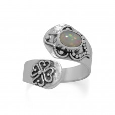 .925 Sterling Silver Oxidized Ethiopian Opal Wrap Ring Spoon Ring