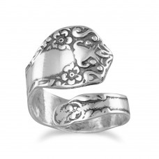 Sterling Silver Oxidized Floral Spoon Ring Wrap Ring Spoon Ring