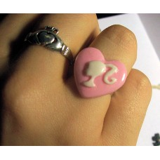 Pink Heart Barbie Silhouette Cameo Adjustable Ring