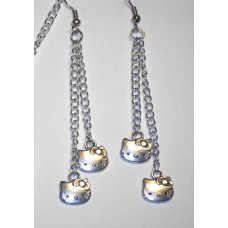 Hello Kitty Chain Drop Siver Plated Earrings