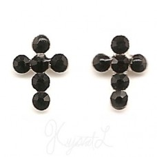 Sterling Silver Crystal Cross Earrings -Black