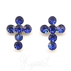 Sterling Silver Crystal Cross Earrings - Blue