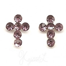 Sterling Silver Crystal Cross Earrings - Lavender
