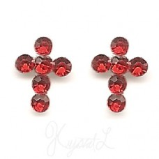Sterling Silver Crystal Cross Earrings - Red