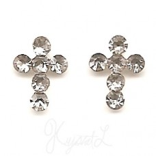Sterling Silver Crystal Cross Earrings - Clear